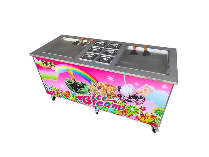 latest Fried Ice Cream making Machine Double Pan for wholesale Snack food factory