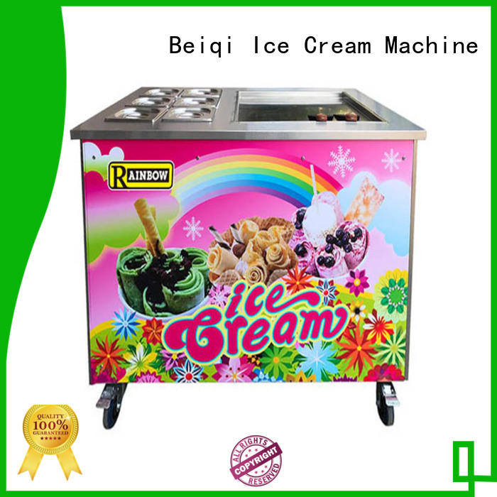 BEIQI Breathable stir fry Ice Cream Roll Machine Customized Double Pan Fried Ice Cream Machine different flavors For dinning hall