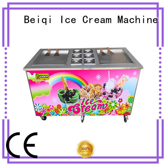 BEIQI Double Pan Fried Ice Cream Machine free sample For commercial