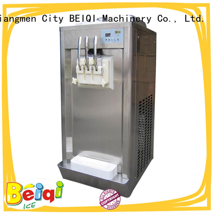 BEIQI portable Three flavors Soft Ice Cream Machine silver Frozen food factory