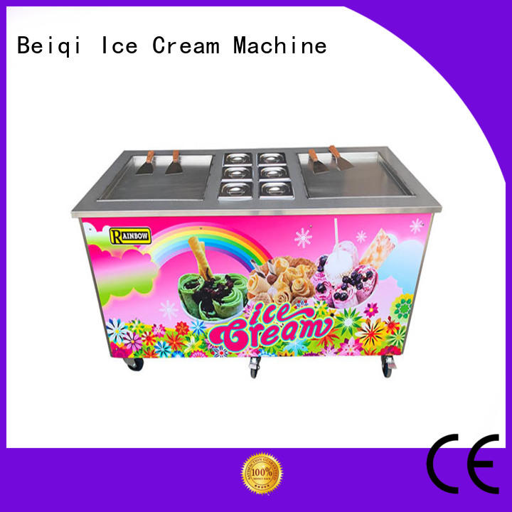 BEIQI Double Pan Fried Ice Cream Maker supplier For dinning hall